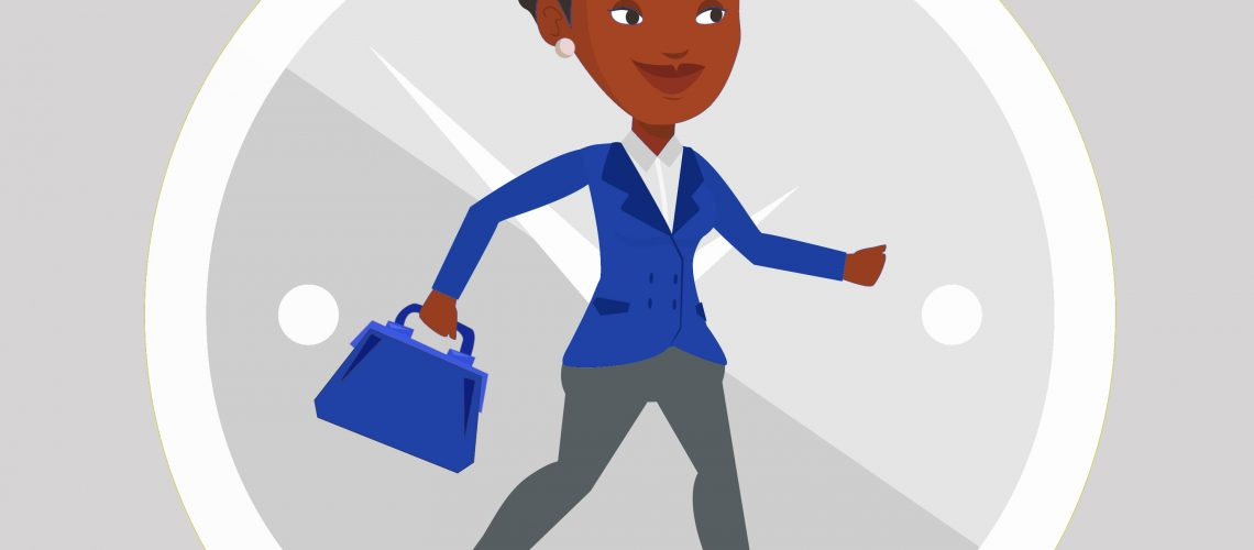 Busy african-american business woman running on the background with clock. Busy business woman in a hurry. Concept of deadline and busy time. Vector flat design illustration. Square layout.